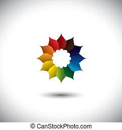 gyönyörű, minden, virág, színes, szirom, befest, vektor, ikon