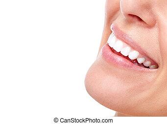gyönyörű, mosoly, nő, teeth.