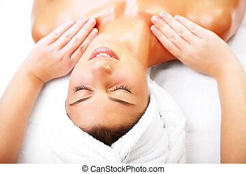 gyönyörű, mosolyog woman, massage., kinyerés
