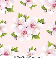 gyönyörű, motívum, menstruáció, seamless, sakura