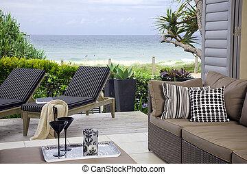 gyönyörű, nézet, óceán, waterfront, kíséret, tengerpart