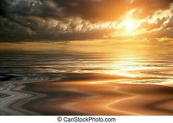 gyönyörű, napnyugta, csendes, tenger