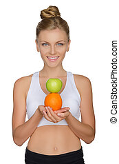gyönyörű, narancs, nő, alma