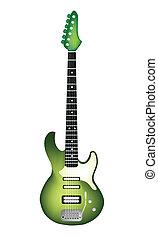 gyönyörű, nulla, gitár, elektromos, zöld