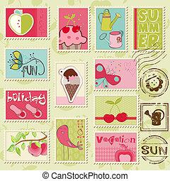 gyönyörű, nyár, állhatatos, -, summer-related, koton topog, vektor