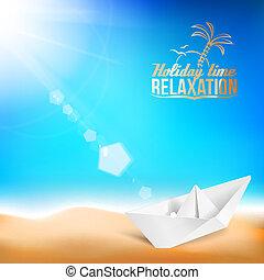 gyönyörű, nyár, hajó, tenger, háttér