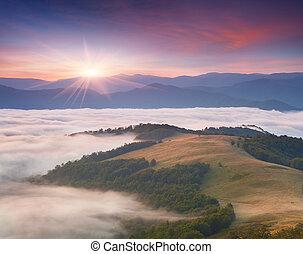 gyönyörű, nyár, hegy., táj, napkelte