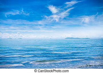 gyönyörű, nyár, kék ég, tenger