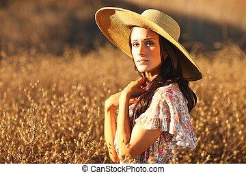 gyönyörű, nyár, nő, fiatal, mező, idő