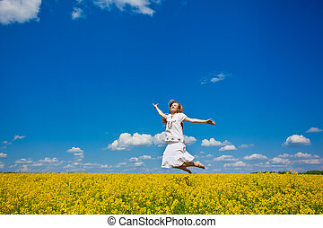 gyönyörű, nyár, nő, fiatal, mező, ugrás