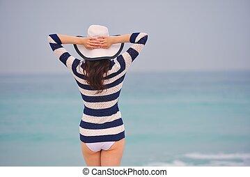gyönyörű, nyár, nő, szünidő, élvez, boldog