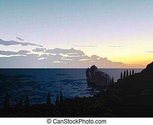 gyönyörű, nyár, színhely, tenger, seascape., simeiz., -e, design., kevés, island., megugat, crimea., vector., csillag, kilátás, partvonal, félhomály, megkövez, illustration., sky., először, sunset.