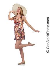 gyönyörű, nyár, woman táncol, elszigetelt, white ruha