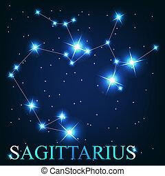 gyönyörű, nyilas, ég, csillaggal díszít, kozmikus, aláír, fényes, vektor, háttér, állatöv