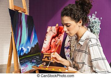 gyönyörű, otthon, nő, festmény, kreatív