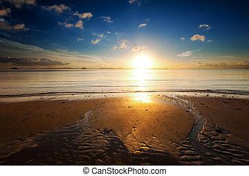 gyönyörű, parkosít., visszaverődés, természet, nap, ég, óceán víz, napkelte, háttér, fény, tengerpart, tenger