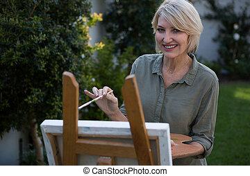 gyönyörű, portré, festmény, vászon, nő