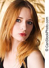 gyönyörű, portré, nő, closeup, fiatal