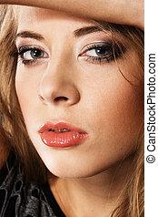 gyönyörű, portré, nő, fiatal, arc