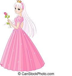 gyönyörű, rózsa, hercegnő