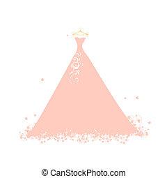 gyönyörű, rózsaszínű, hirdetmények, ruha
