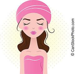 gyönyörű, rózsaszínű, nő, ), (, elszigetelt, ásványvízforrás, fehér