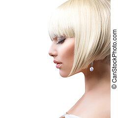 gyönyörű, rövid, egészséges, felett, haj, leány, fehér