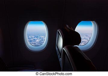 gyönyörű, repülőgép, ég, felügyelő, ülés