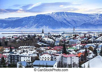 gyönyörű, reykjavik, antenna, város, iceland., kilátás