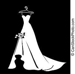 gyönyörű, ruha, esküvő