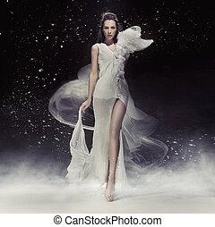gyönyörű, ruha, fehér, barna nő, hölgy