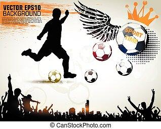 gyönyörű, series., klasszikus, játékos, elvont, labdarúgás, ábra, sport, háttér., vektor, akció, poster., futball, eredeti