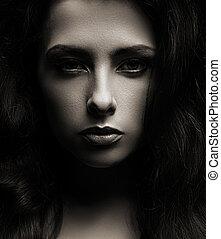 gyönyörű, shadows, woman arc, sötét, closeup, háttér, portré