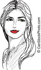 gyönyörű, skicc, nő, face., ábra, vektor