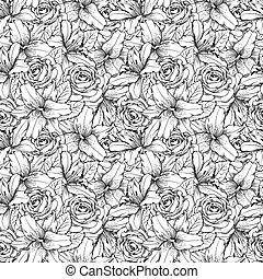 gyönyörű, strokes., megvonalaz, seamless, agancsrózsák, hand-drawn, black háttér, white liliom, körvonal