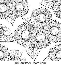 gyönyörű, strokes., megvonalaz, seamless, hand-drawn, black háttér, monochrom, fehér, körvonal, sunflowers.