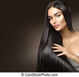 gyönyörű, szépség, egészséges, hosszú szőr, megható, hair., leány, formál