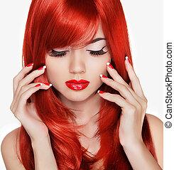 gyönyörű, szépség, na, hair., hosszú, portrait., manikűröz, leány, piros