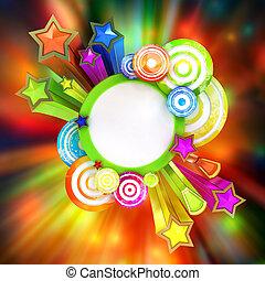 gyönyörű, színezett, poszter, csíkoz, disco, retro, csillaggal díszít