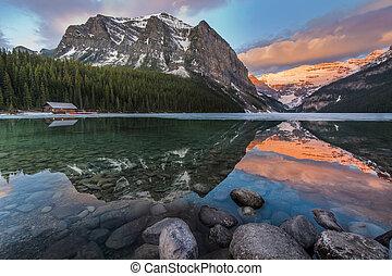 gyönyörű, színpadi, tó louise