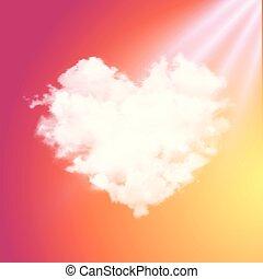 gyönyörű, szív, ég, fellobbanás, gyakorlatias, vektor, napnyugta, sunshine., sun., felhő