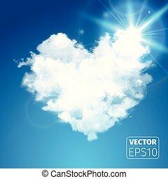 gyönyörű, szív, kék ég, fellobbanás, gyakorlatias, vektor, sun., sunshine., felhő