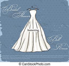gyönyörű, szüret, esküvő, dress., poszter
