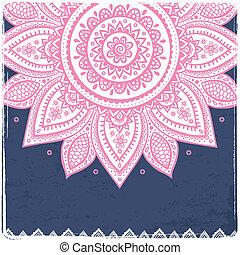gyönyörű, szüret, indiai, virágos, díszítés