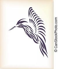 gyönyörű, szüret, vektor, kolibri