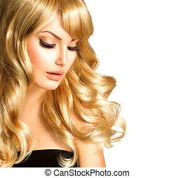 gyönyörű, szőke, szépség, göndör, hosszú szőr, szőke, woman., leány