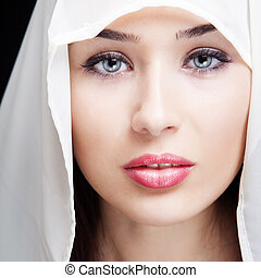 gyönyörű szem, nő, érzéki, arc