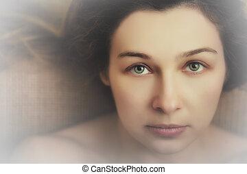 gyönyörű szem, nő, kifejező, érzéki