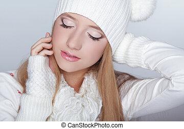 gyönyörű szem, nő, tél, szépség, face., makeup., portré, formál, leány