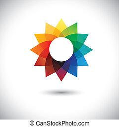 gyönyörű, szivárvány, virág, colors-, színes, képzelet, ez, graphic., kék, ábra, szirom, befest, vektor, narancs, meglehetősen, virágos, zöld, piros, őt consists